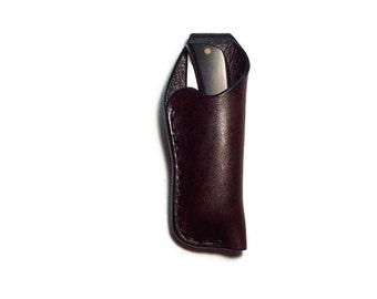 Custom Leather Medium Knife Sheath with belt loop / Plain