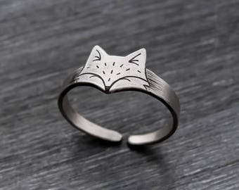Fox Jewelry, Fox Ring, Silver Fox Ring, Silver Fox Jewelry, Sterling Silver Fox Ring, Adjustable Ring, Sterling Silver Fox, Silver Fox