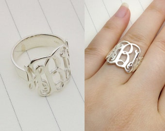 Silver Monogram Ring,Any Initial Ring,Personalized Monogram Ring,3 Initial Monogram Ring,Christmas Gift