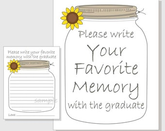 Favorite Memory with the Graduate Rustic Mason Jar Printable Cards and Sign for a Graduation Party - Sunflower Design