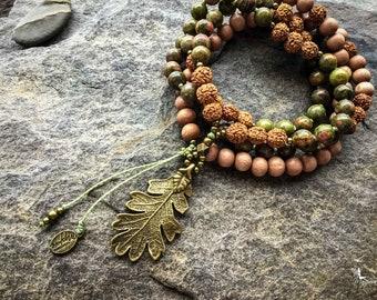 Mala beads Unakite with Oak Leaf pendant 108 mantra meditation 8mm yoga jewelry handmade by Créations Mariposa