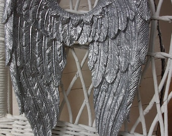 ANGEL WINGS SILVER New! Shabby Chic Wall Decor Baby Nursery Decor Furniture Appliques