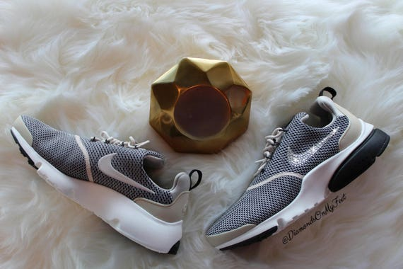 White Fly Authentic Swarovski Bling Nike With Brown Women's Clear Custom Sneakers Swarovski Presto Out Shoes amp; Crystals Nike Blinged YwCfqn