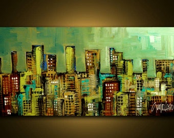 Original Painting - Modern Cityscape Art by SLAZO - 24x48 Made to Order