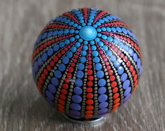 mandala ball 5cm painted glass