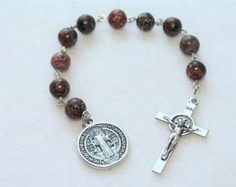 St. Benedict Catholic Pocket Rosary in Leopard Jasper--Benedictine Patron Saint Catholic Rosary--Custom/Handmade
