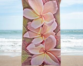 Hawaiian Pink Tropical Frangipani Plumeria Beach Towel