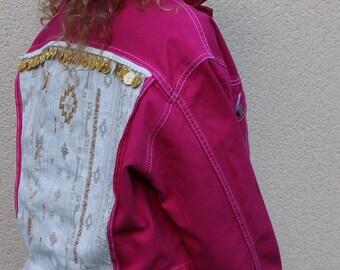 Pink boho denim jacket
