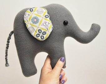 Curious Gray Plush Elephant - Floral Print Ears - READY TO SHIP