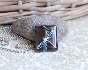 Dragonfly Pendant - Insect Necklace - Gentle Jewelry - Black and White Pendant