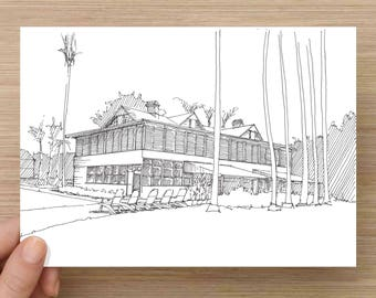 Ink Drawing of Truman's Little Whitehouse in Key West, Florida - Architecture, Sketch, 5x7 Print, Art, Illustration, Pen and Ink