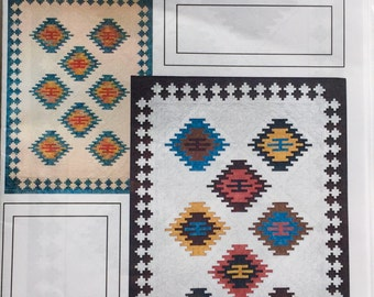 "EL RANCHO quilt pattern by J Michelle Watts - southwestern quilt 66""x93"" - native american quilt - easy beginner-suitable applique pattern"