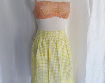 Vintage 60s half apron, yellow white check, Mothers Day gift, hostess wear, waitress, housewife costume, cotton apron