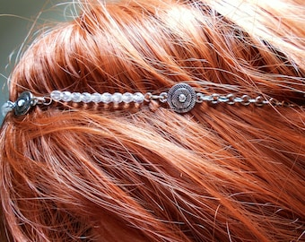 Crystal and silver metal headband hair ceremony