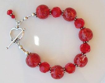 Swarovski Crystal and Lampwork Beaded Sterling Silver Bracelet SRAJD  RED handmade military birthday  patriotic  OOAK