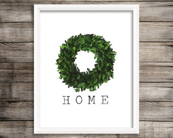 Home Boxwood Wreath (Watercolor Printable) - Digital Print File