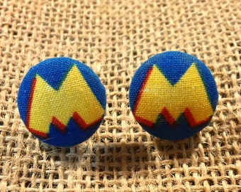 Mickey Inspired - Fabric Button Earrings