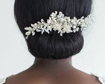 Pearl Bridal Comb, Wedding Hair Comb, Lace & Crystal Comb, Lace Bridal Comb, Wedding Lace Headpiece