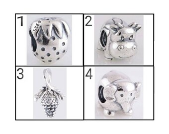 C200 Strawberry,C204 Cow,C019 Pine Cone,C205 Animal Elephant 100% 925 Sterling Silver Charm, Chain Is Not Included