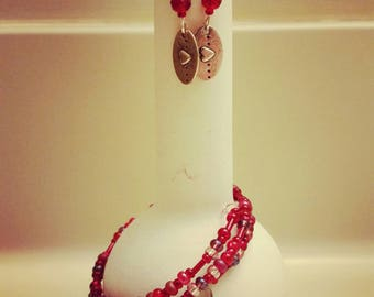 Follow your Heart Memory Wire Bracelet and Earring Set Valentine's Day