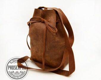Mini Bucket bag, Brown Leather Bucket Bag, Women shoulder bag, Leather Bucket Bag, Brown Leather Bucket Bag, Drawstring Leather Bag