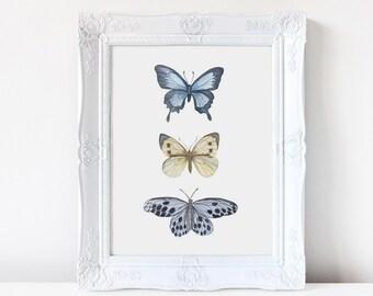 Butterflies,  watercolor,  wall art, butterfly print, nursery art, wall decor, fine art, birthday gift, new baby, gift