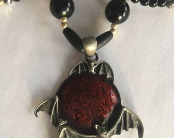 Vampire Bat Black Onyx Necklace