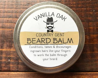 Country Gent Handmade Beard Balm Conditioner Tamer 3oz. Tin Vanilla Oak