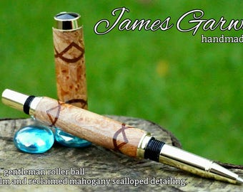 12ct gold Jr gentleman roller ball or fountain pen wooden pen with burr elm and reclaimed mahogany scalloped detailing