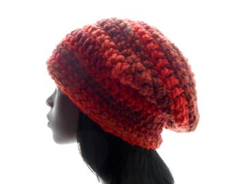 Women's Slouchy Beanie Hat, Wool - Blend Striped Hat, Crochet Hat in Oranges and Browns, Medium to Large Size