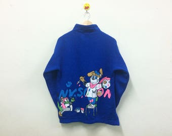 Rare!!! NY Scoon Sweatshirt With Button Turtle Neck Cartoon Graphic Art