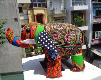 Hmong Embroidered Cotton and Polyester toy - Elephant