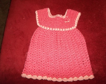 3 - 6 month old hand crochet baby dress