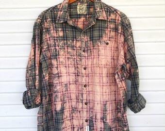 XLARGE - Flannel Shirt - Bleached - Vintage Washed Flannel - Oversized Flannel - Distressed Flannel - Plaid Shirt - Fall Shirt - #116 BM