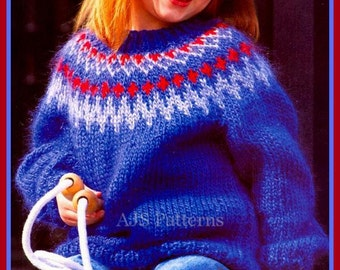 """PDF Knitting Pattern for a Childs Nordic or Fair Isle Chunky Knit Sweater to fit 26-36"""" Chests - Instant Download"""
