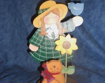 Spring Girl Wooden Shelf Sitter
