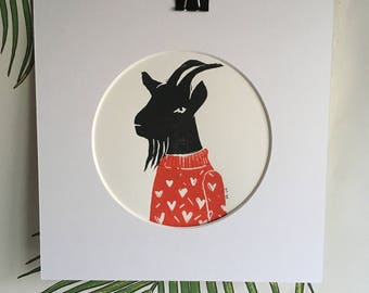 The Love Goat - wall art - Lino print -