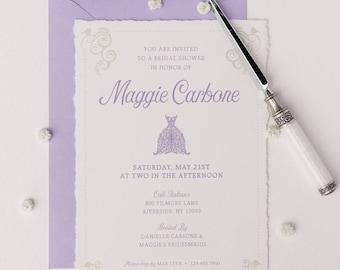 elegant lavender and sage bridal shower invitation
