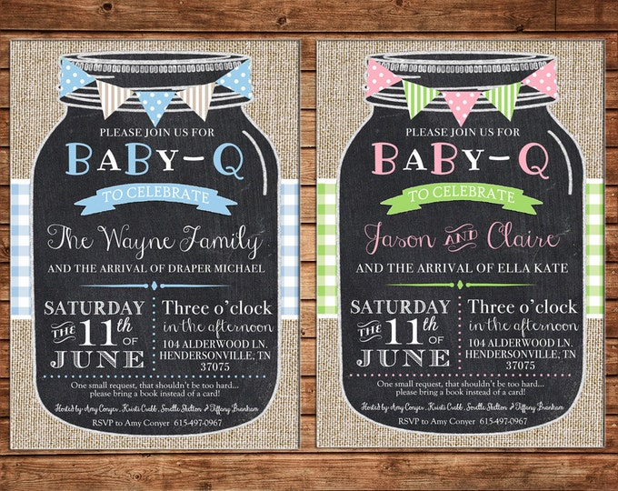 Boy or Girl Invitation Baby Q Mason Jar Burlap Gingham Shower Party - Can personalize colors /wording - Printable File or Printed Cards