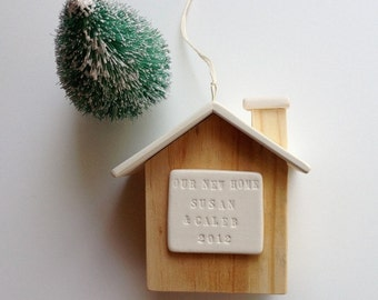 personalized house ornament New Home, House Warming, Our First Christmas,  with custom name or text by Paloma's Nest
