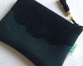 Glittery black leather purse