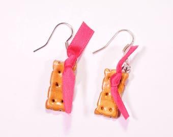Pink cookie earrings