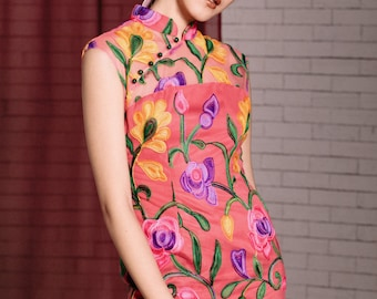 Maarimaia Classic Embroidered Qipao Coral | Cap Sleeve | cheongsam | Pencil dress | Midi | Jade Button  | Chinese New Year| CNY| Embroidered