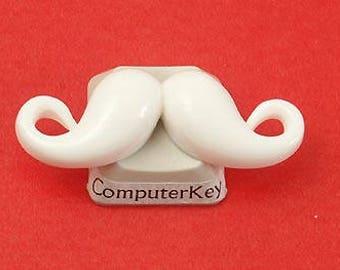 BULK PACK 50 Resin Cabochon, Moustache, White, 37mm, mustache