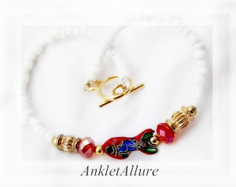 Beach Anklet Red Coy Ankle Braclets for Women Fish Anklet Cloisonne Anklet for Women GUARANTEE
