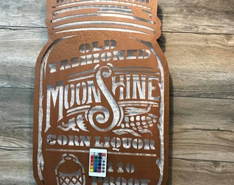 Back lit Moonshine Sign