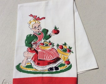 Vintage Tea Towel Grandma Peels Apples Retro Kitchen