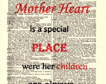 A Mother HEART...Dictionary Art Print,Vintage Poster,Digital,Popart,Gift ideas,Wall Office Room decor,Quotes,Home & Living,Mixed Med