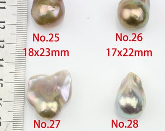 No.25-32,15-20mm large pearl pendant,natural metallic color large baroque pearls loose for pendant,special color,No hole,half drilled hole