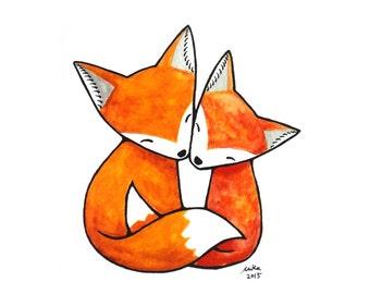 Fox Illustration Print Fox Art Print Fox Couple Love Illustration Orange Fox Art Print Fox Nursery Art Woodland Home Decor Fox Wall Art MiKa